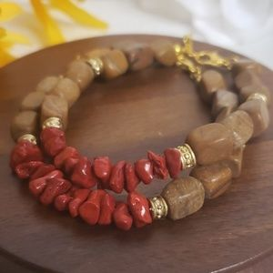 Jewelry - 2 pack Brown stone and red coral bracelets